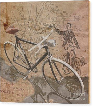 Cycling Gent Wood Print by Sassan Filsoof