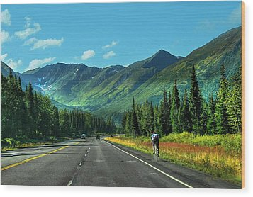 Cycling In Denali   Wood Print by Dyle   Warren