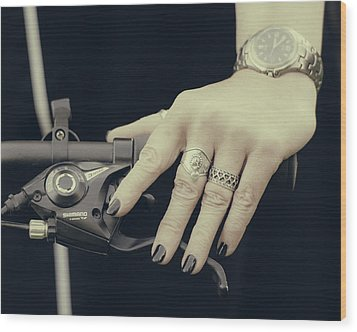 Wood Print featuring the photograph Cycling Lady by Ari Salmela