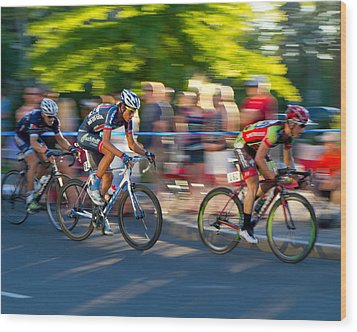 Wood Print featuring the photograph Cycling Pursuit by Kevin Desrosiers