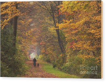 Cyclist And Dog Wood Print by Michele Steffey