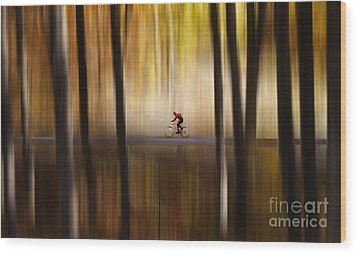 Cyclist In The Forest Wood Print by Yuri Santin