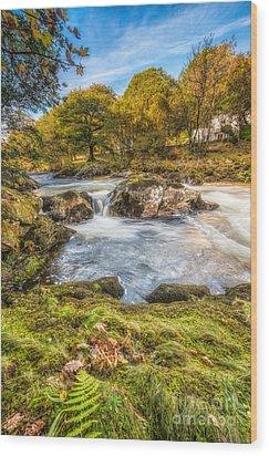 Cyfyng Falls Wood Print by Adrian Evans