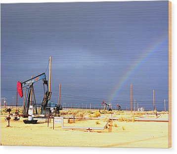 Wood Print featuring the photograph Cymric Field Rainbow by Lanita Williams