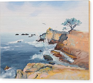 Wood Print featuring the painting Cypress And Seagulls by Asha Carolyn Young