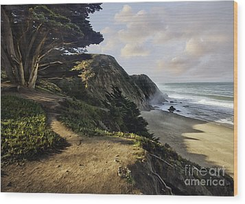 Cypress Beach Wood Print