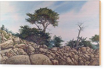 Wood Print featuring the painting Cypress Garden by Tom Wooldridge