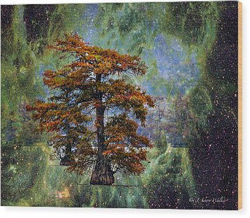 Wood Print featuring the digital art Cypress In All Its Glory by J Larry Walker
