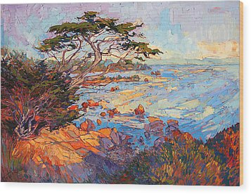 Cypress Mosaic Wood Print by Erin Hanson