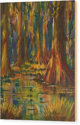 Cypress Trees Wood Print by Dorothy Allston Rogers