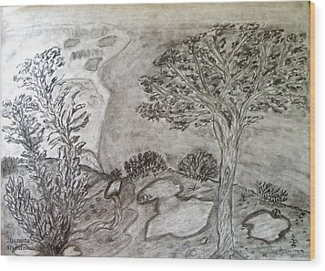 Cypresses In Cyprus Wood Print by Augusta Stylianou