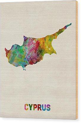 Cyprus Watercolor Map Wood Print by Michael Tompsett