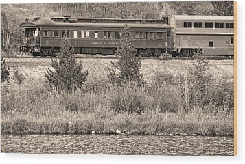 Cyrus K  Holliday Private Rail Car Bw Sepia Wood Print by James BO  Insogna