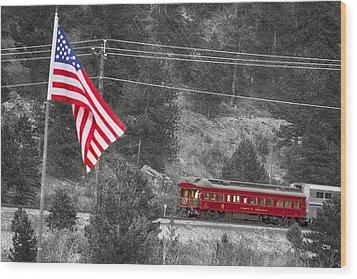 Cyrus K. Holliday Rail Car And Usa Flag Bwsc Wood Print by James BO  Insogna