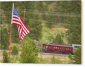 Cyrus K. Holliday Rail Car And Usa Flag Wood Print by James BO  Insogna