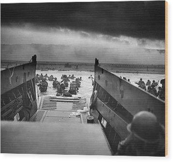 D-day Landing Wood Print by War Is Hell Store