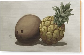 Da Pinepple With Cocoanut  Wood Print by Christopher Evans