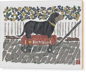 Dachshund Art Hand-torn Newspaper Collage Art Wood Print by Keiko Suzuki