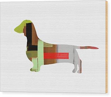 Dachshund Wood Print by Naxart Studio