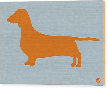 Dachshund Orange Wood Print by Naxart Studio