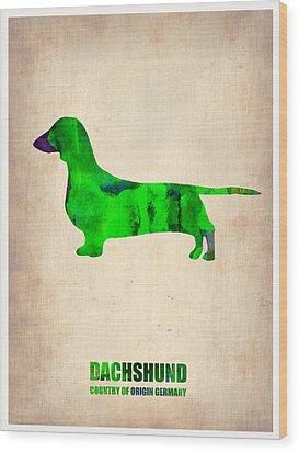 Dachshund Poster 1 Wood Print by Naxart Studio