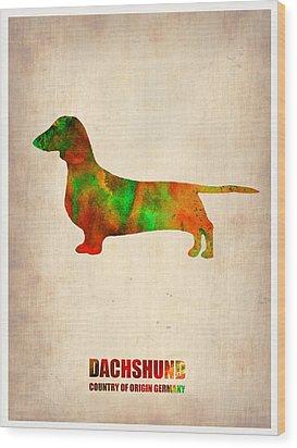 Dachshund Poster 2 Wood Print by Naxart Studio