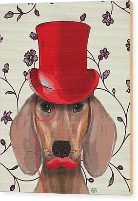 Dachshund Red Hat And Moustache Wood Print by Kelly McLaughlan