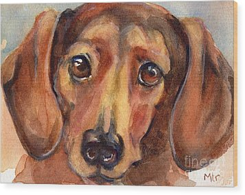 Dachshund Watercolor Wood Print by Maria's Watercolor