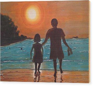 Dad And Daughter Wood Print