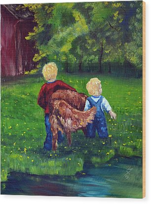 Daddy's Boys Wood Print by Meaghan Troup