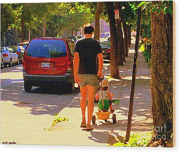 Daddy's Little Buddy Perfect Day Wagon Ride Montreal Neighborhood City Scene Art Carole Spandau Wood Print by Carole Spandau