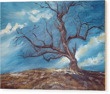 Wood Print featuring the painting Daddy's Tree by Meaghan Troup