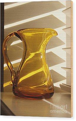 Dad's Amber Pitcher By Blenko Glass Wood Print by Karen Adams