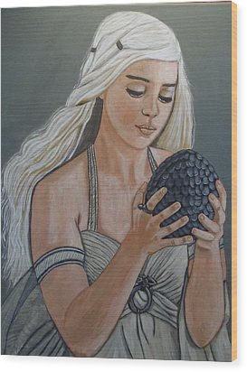 Daenerys Dragon Queen Wood Print by Tammy Rekito