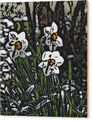 Wood Print featuring the digital art Daffodil by David Lane