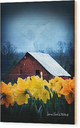 Daffodils And A Red Barn Wood Print by Lena Wilhite
