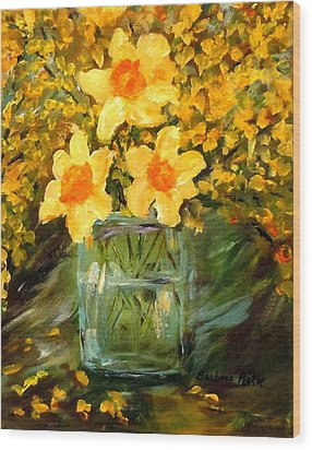 Daffodils And Forsythia Wood Print by Barbara Pirkle