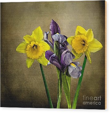 Daffodils And Iris Wood Print by Shirley Mangini