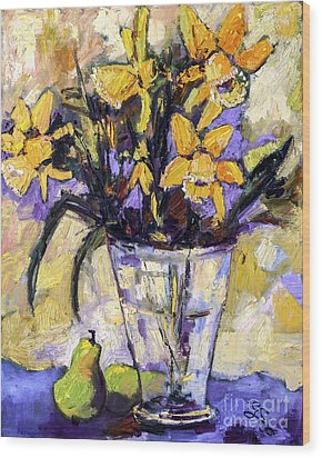 Daffodils And Pears Still Life Wood Print by Ginette Callaway