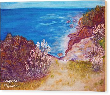 Daffodils At The Beach Wood Print by Augusta Stylianou