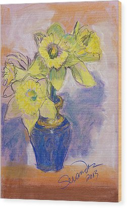 Daffodils In Blue Italian Vase Wood Print