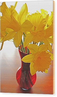 Wood Print featuring the photograph Daffodils In Red Vase by Diane Alexander