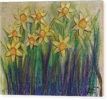 Daffodils Wood Print by Kenny Henson