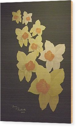 Daffodils Wood Print by Terry Frederick