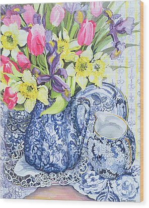 Daffodils Tulips And Irises With Blue Antique Pots  Wood Print by Joan Thewsey