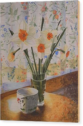 Daffodils With Red Ribbon Wood Print by Adel Nemeth