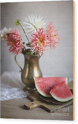 Dahlia And Melon Wood Print by Nailia Schwarz