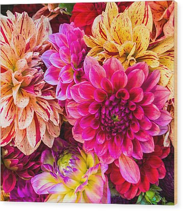 Dahlia Bouquet Number 3 Wood Print