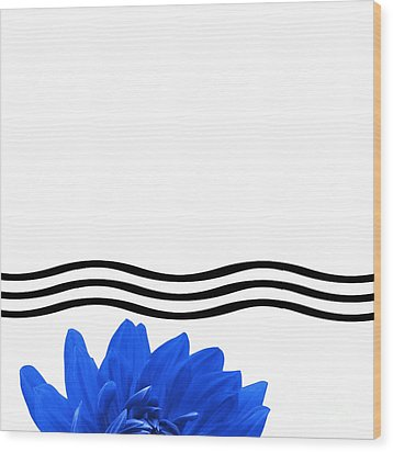 Dahlia Flower And Wavy Lines Triptych Canvas 1 - Blue Wood Print by Natalie Kinnear