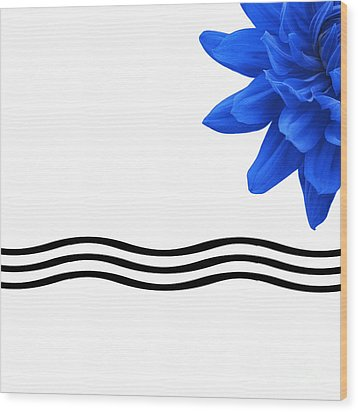 Dahlia Flower And Wavy Lines Triptych Canvas 3 - Blue Wood Print by Natalie Kinnear